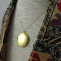 Vintage Brass Locket Necklace- 30 inch 14k Gold Filled Chain