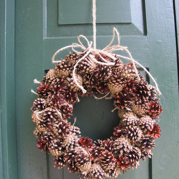 Natural colours wreath outdoor indoor floristic gift idea year round decoration handmade home decor pine cone holiday Christmas birthday