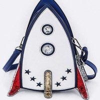 Fly Me To The Moon Rocket Cross Body Purse