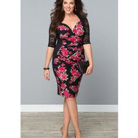 Plus Size Black Floral Stop & Stare Wiggle Dress