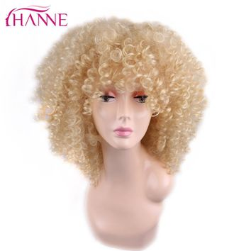 HANNE 16inch #1B Or #613 Or Red 3 Colors Available Medium Length Afro Curly For African Women Heat Resistant Synthetic Hair Wigs