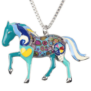 Psychedelic Horse Necklace