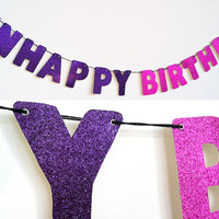 UNHAPPY BIRTHDAY Glitter Banner Wall Decoration Garland - Morrissey / The Smiths - Sparkly Pink & Purple