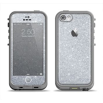The Silver Sparkly Glitter Ultra Metallic Apple iPhone 5c LifeProof Fre Case Skin Set