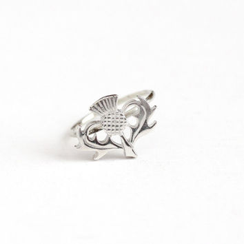 Antique Sterling Silver Top Scottish Thistle Stick Pin Conversion Ring - Size 6 Edwardian 1910s Vintage Scotland Flower Plant Jewelry