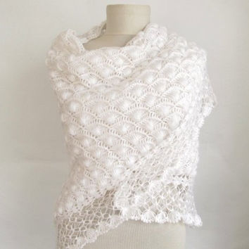 Christmas gift -Crochet WHITE Shawl...wedding bridal shawl.knitting, fashion,shrug,stole, capelet, cream, women, scarflette,