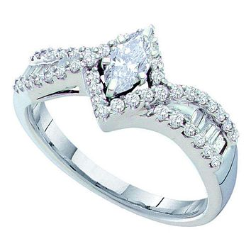 14kt White Gold Women's Marquise Diamond Solitaire Bridal Wedding Engagement Ring 3/4 Cttw - FREE Shipping (US/CAN)