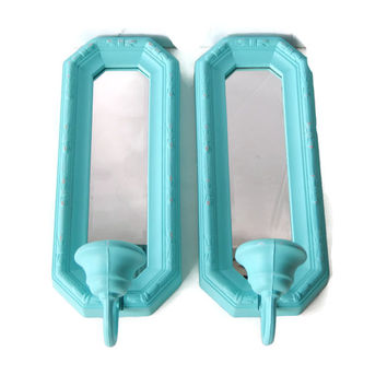 Mirror Sconce Pair Wall Candle Holders Aqua