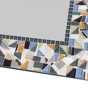 Mosaic Wall Mirror in Copper, Blue, Gray, and White