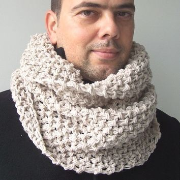 Mens Hooded Scarf - Circle Scarf - Mens Cowl -   Mans scarf in oatmeal -   Mens    Chunky  Cowl   Fall Autumn Winter Fashion Accssories