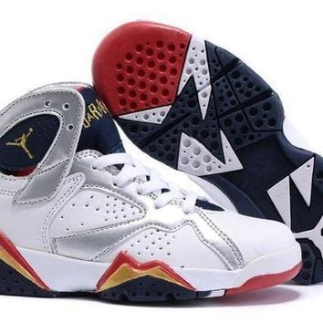 Nike Jordan Kids Air Jordan 7 Retro White/Silver Kids Sneaker Shoe US 11C - 3Y