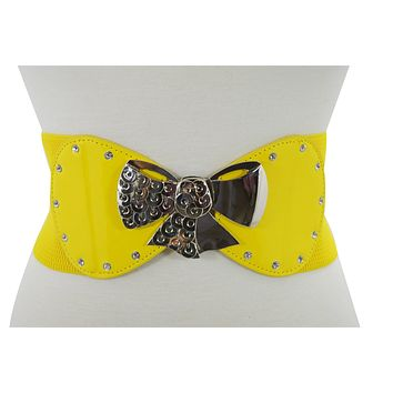 60's Rockabilly Pinup Metal Bow Yellow Wide Elastic Cinch Waist Belt