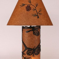 "Small Table Lamp 30"" H with Pine Cone Panel"