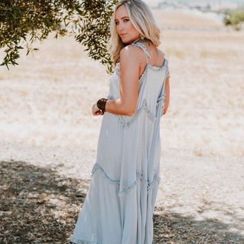 Ocean Break Ruffle Maxi Dress - Blue Gray