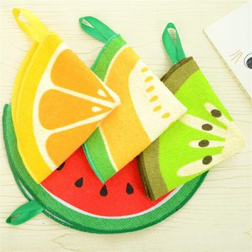 2pcs Lovely Cartoon Fruit Pattern Towel Absorbent Kitchen Towel Hanging Hand Towel  For Kitchen Bathroom Use D