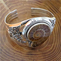 Beautiful And Unique Silver Fossil Bracelet - One Of a Kind Bracelet - Tribal Jewelry - Ethnic Jewelry - Native American Jewelry