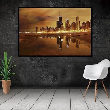 Canvas Wall Art: Windy City On The Lake Urban Landscape on Canvas