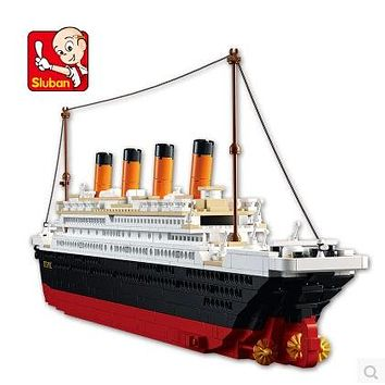 1021PCS Sluban B0577 Building Blocks Toy Cruise Ship RMS Titanic Ship Boat 3D Model Educational Gift Toy legeod brinquedos