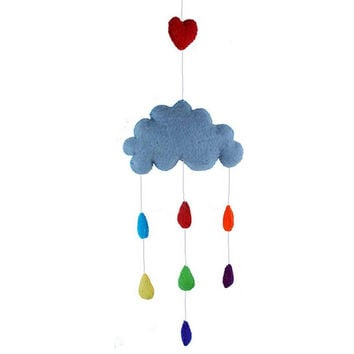 Felt Rainbow Cloud Mobile - Fair Trade