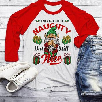 Men's Funny Elf Shirt Christmas Shirts Little Naughty But Nice TShirt Christmas Outfit Idea Cute Fun Graphic Tee 3/4 Sleeve Raglan