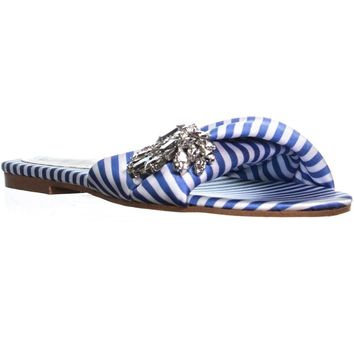 Marc Fisher Gallary2 Slip On Flat Sandals, Blue Multi, 7 US