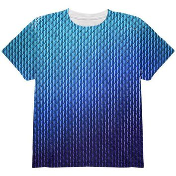 DCCKJY1 Halloween Blue Ice Dragon Scales Costume All Over Youth T Shirt