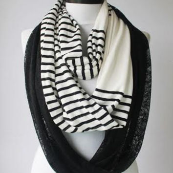 black striped infinity scarf,scarf,scarves,long scarf,loop scarf,git