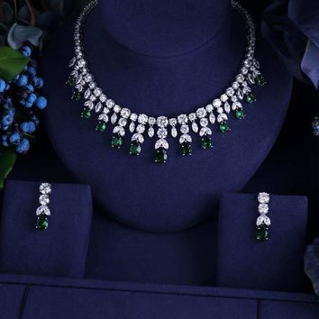 Vintage Luxury Sparking Brilliant Cubic Zircon Drop Earring Necklace r Jewelry Set