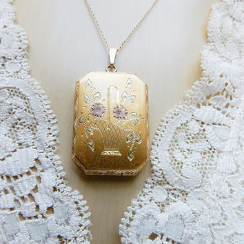 Antique Locket, Something Old, 4 Photo Necklace, Gold Plated Locket, Etched Flower Basket, Victorian 10k, Gold Chain