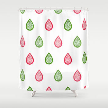 Pink and green raindrops Shower Curtain by Savousepate