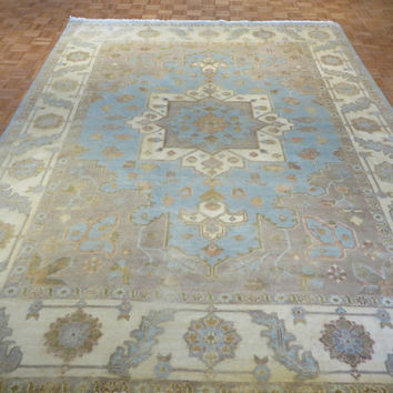 9 x 12 Hand Knotted Light Blue Oushak Oriental Rug