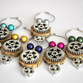 Steampunk Wine Bottle Cork Beaded Wine Charms Set of by TipsyGLOWs