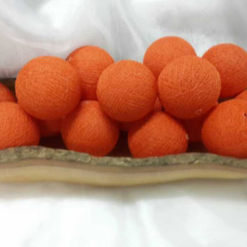 100  beautiful orange  cotton ball pom pom garland decorative handmade ball display lantern home decor DIY