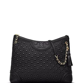 Tory Burch Fleming Quilted Leather Tote Bag, Black $595.00