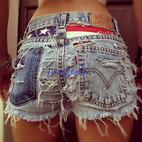 American flag clothing,high waisted American flag shorts,high waisted jean shorts,high waisted denim shorts,destroyed shorts by Jeansonly