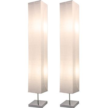 Chrome Floor Lamp Set 50 Inches Tall with White Paper Shades (Set of 2)