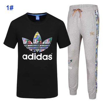 Adidas men's summer t-shirt round neck half-sleeve trousers fitness running clover sportswear suit black+grey bottom