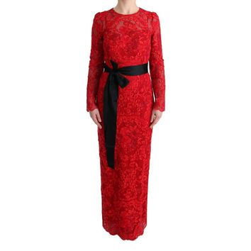 Dolce & Gabbana Red Floral Ricamo Sheath Long Dress