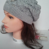 Slouchy Women Hat Slouch Beanie Winter Women Hat Slouchy Crochet Beanie Glamour Grey Slouch Hat Laces Slouchy Hat
