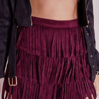 Missguided - Suede Fringe Shorts Burgundy