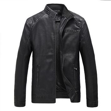 New Leather Jacket Men Fashion Brand Fleece Lined Thick Warm Suede Motorcycle Casual Outerwear Coats Winter Faux Leather Coat