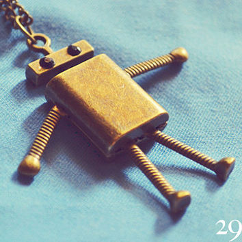 Vintage bronze robot necklace jewelry for her him beautiful surprise gift 42