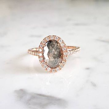 A Handmade 14K Rose Gold Natural 3CT Oval Cut Salt & Pepper Grey Diamond Halo Engagement Ring