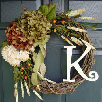 Hydrangea Wreath - Monogram Wreath - Personalized Wreath - Front Door Wreaths - Summer Wreaths - Fall Wreaths - Includes Free Wreath Hanger