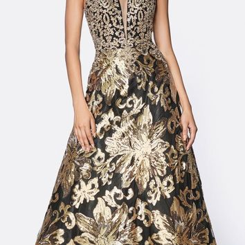 A-Line Sequin Ballgown Black/Gold V-Neckline Criss Cross Back