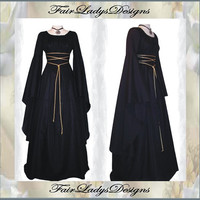 Hoilday Sale: Medieval/Renaissance Black Trumpet Sleeve Costume Gown, Custom made to order