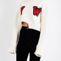 OFF-WHITE C/O VIRGIL ABLOH W-intarsia cropped wool-blend sweater