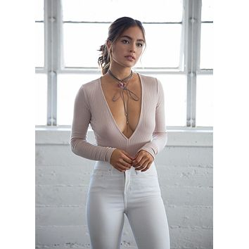 Deep-V Ribbed Bodysuit