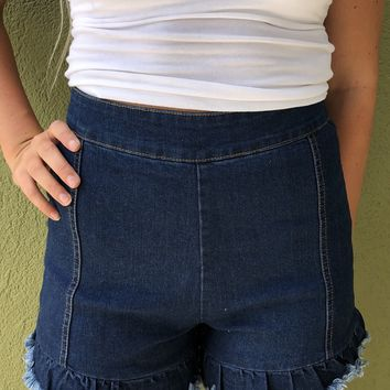 Sweeter Than Sugar Shorts - Dark Wash Denim