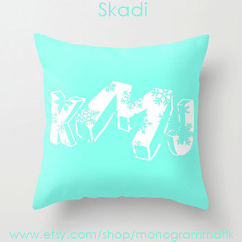 "Christmas Monogram Personalized Custom Pillow Cover ""Skadi"" 16x16 Snowflake Couch Winter Decor Initial Name Letter Aqua White Teal Gift Blue"